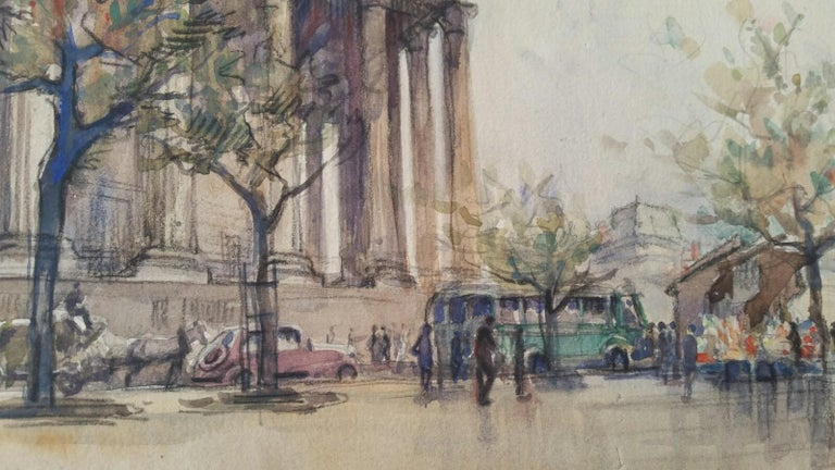 Ecole de Paris, Mid 20th Century, A Pair: L'eglise de la Madeleine  For Sale 6