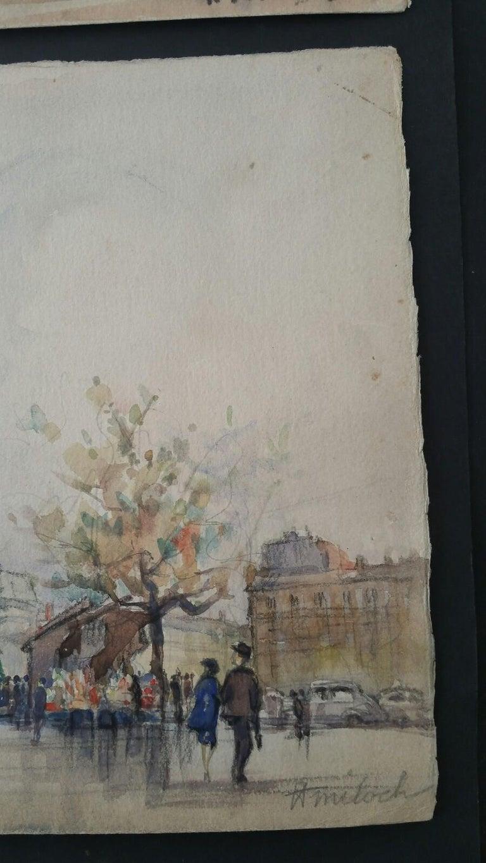 Ecole de Paris, Mid 20th Century, A Pair: L'eglise de la Madeleine  For Sale 8