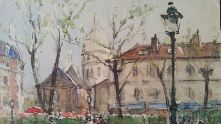 Paris: Place du Tertre and Sacre Coeur, the Roman Catholic Basilica of the Sacred Heart of Paris by Henri Miloch (1898-1979) signed lower right watercolour and gouache painting on artist's paper, unframed  Sheet: 9.5 x 12.25 inches  Delightful
