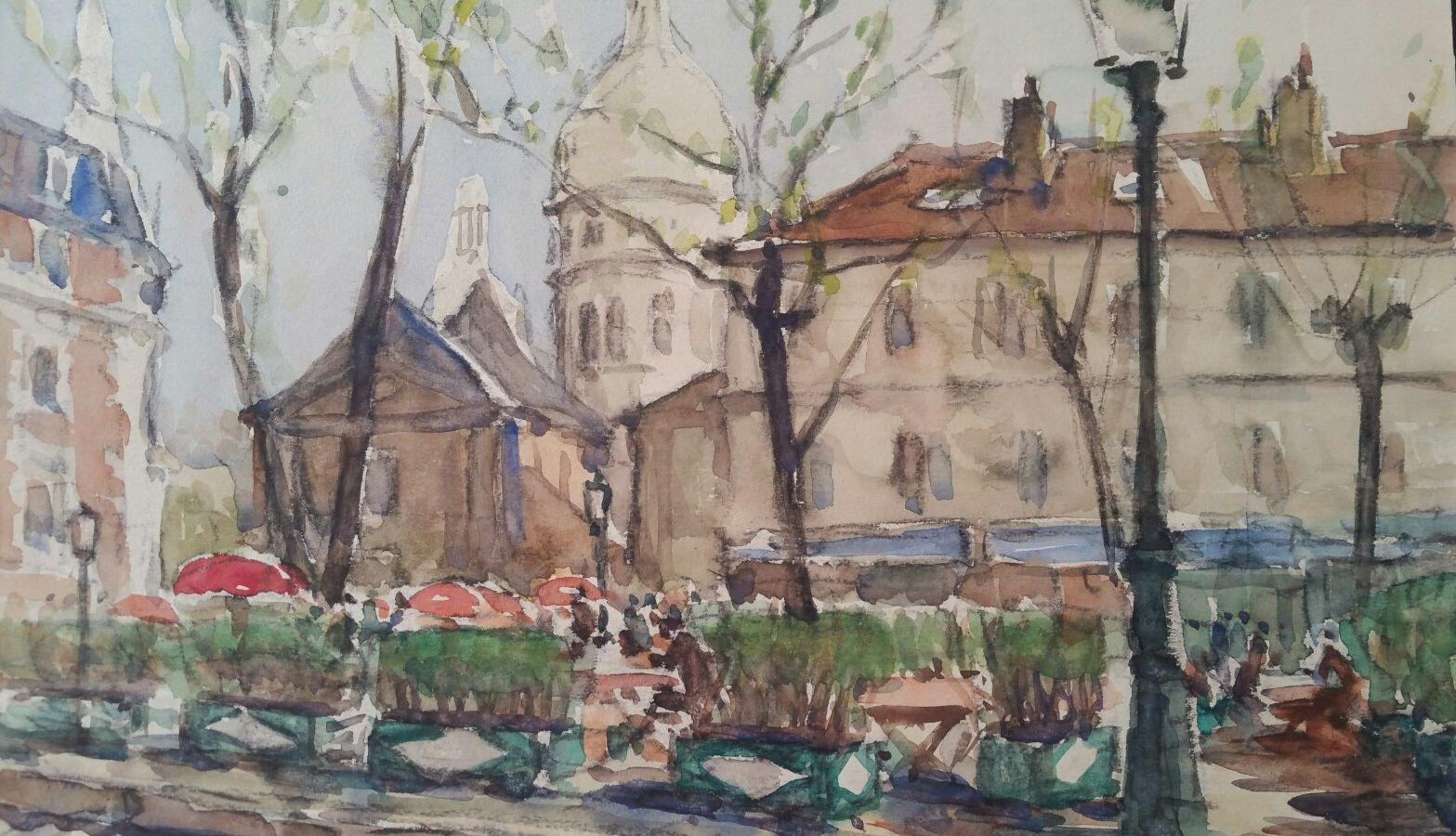 Ecole de Paris Mid 20th Century Place du Tertre and Sacre Coeur
