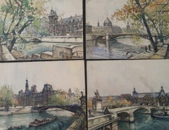 Ecole de Paris, Mid 20th Century, Four Paris Bridges Paintings