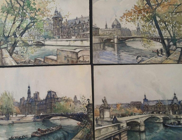 Henri Miloch Landscape Painting - Ecole de Paris, Mid 20th Century, Four Paris Bridges Paintings