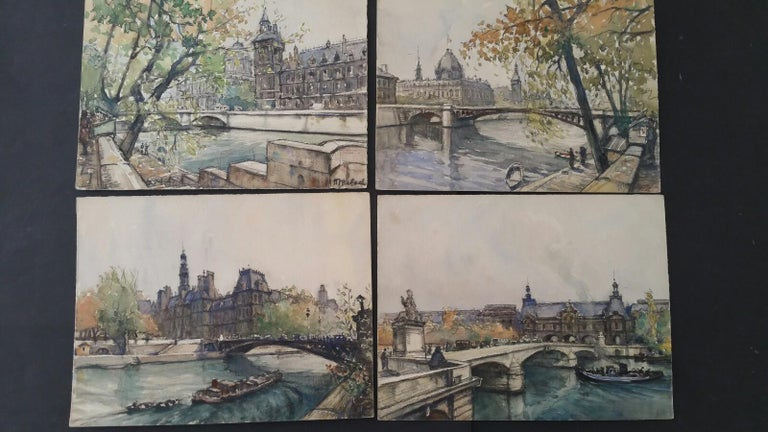 Ecole de Paris, Mid 20th Century, Four Paris Bridges Paintings  - Gray Landscape Painting by Henri Miloch