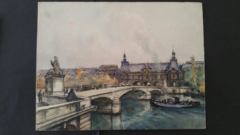 Paris: A Collection of Four Paintings of Paris Bridges by Henri Miloch (1898-1979) Three are signed lower right, one (with a boat about to pass under a bridge from right to left) is unsigned. watercolour and gouache painting on artist's paper,