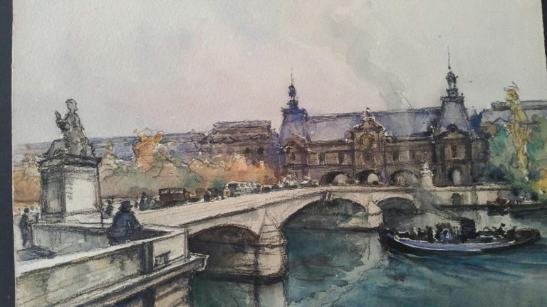 Ecole de Paris, Mid 20th Century, Four Paris Bridges Paintings  For Sale 1