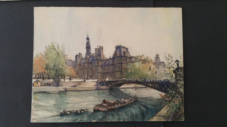 Ecole de Paris, Mid 20th Century, Four Paris Bridges Paintings  For Sale 2
