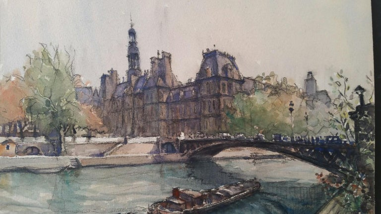 Ecole de Paris, Mid 20th Century, Four Paris Bridges Paintings  For Sale 3