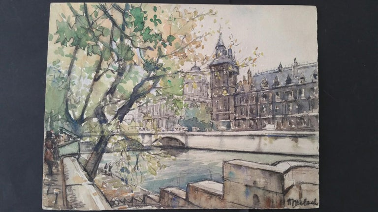 Ecole de Paris, Mid 20th Century, Four Paris Bridges Paintings  For Sale 4
