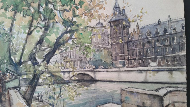 Ecole de Paris, Mid 20th Century, Four Paris Bridges Paintings  For Sale 5
