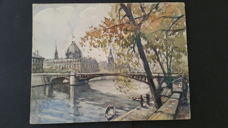 Ecole de Paris, Mid 20th Century, Four Paris Bridges Paintings  For Sale 7