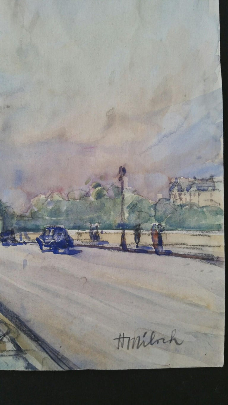 Paris: A Collection of Three Paintings of Paris Scenes by Henri Miloch (1898-1979) the Eiffel Tower painting is signed front lower right and also inscribed to the back, the Versailles painting is unsigned but inscribed to the back in Miloch's hand.