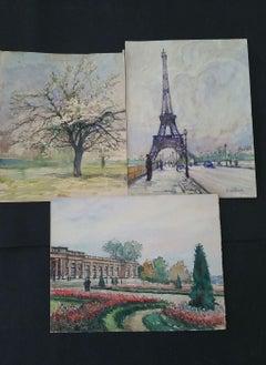 Ecole de Paris, Mid 20th Century, Three Paris Scenes Eiffel Tower & Parks