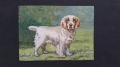 English School 20th Century Oil Painting (1930s) Clumber Spaniel Dog