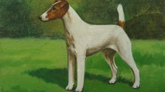 Smooth Fox Terrier 1940's English Oil Painting