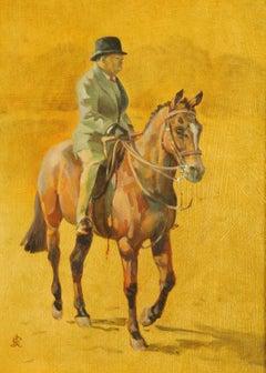 Winston Churchill on Horseback signed oil painting