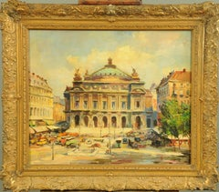 The Paris Opera House Mid 20th Century French Impressionist signed oil painting