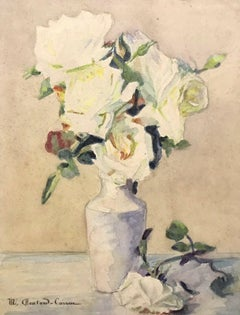 MARIE CHAUTARD-CARREAU - FINE EARLY 20thC FRENCH IMPRESSIONIST- ROSES IN VASE