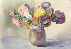 MARIE CHAUTARD-CARREAU - FINE EARLY 20thC FRENCH IMPRESSIONIST- FLOWERS IN VASE