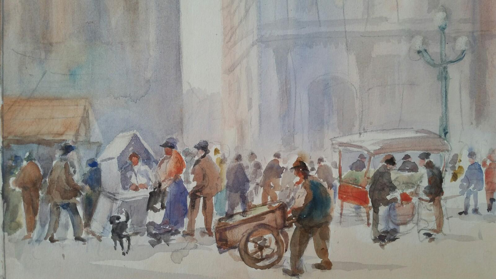 Mid 20th Century, Belgium, A Brussels Market Lottery Seller Scene