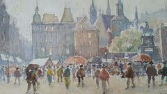 Mid 20th Century Painting - A Luxembourg Market