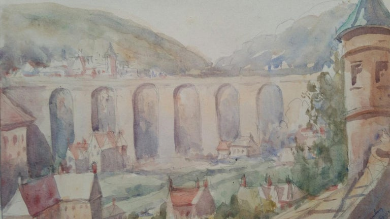 Leonard Machin Rowe Landscape Art - Mid 20th Century, Old Luxembourg, La Passerelle and Ramparts