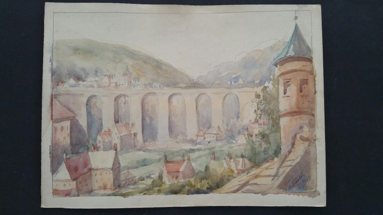 Mid 20th Century, Old Luxembourg, La Passerelle and Ramparts - Art by Leonard Machin Rowe