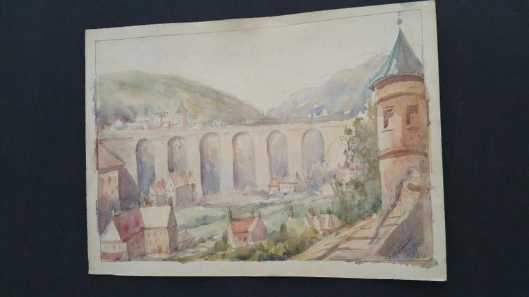 Mid 20th Century, Old Luxembourg, La Passerelle and Ramparts - Impressionist Art by Leonard Machin Rowe