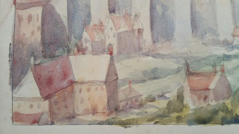 Old Luxembourg. La Passerelle and The Ramparts  by Leonard Machin Rowe (1880-1968) signed and inscribed front lower right corner. Inscribed, dated and signed to the back watercolour painting on artist's paper, unframed  Image 9.75 x 13.75 inches,