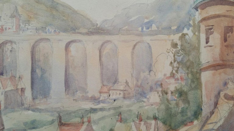 Mid 20th Century, Old Luxembourg, La Passerelle and Ramparts For Sale 2