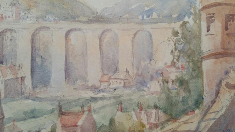 Mid 20th Century, Old Luxembourg, La Passerelle and Ramparts For Sale 3