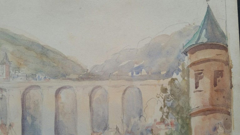 Mid 20th Century, Old Luxembourg, La Passerelle and Ramparts For Sale 4