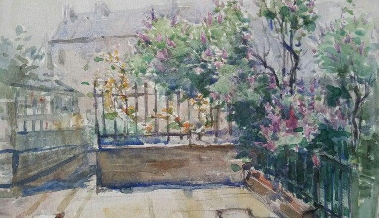 Henri Miloch Landscape Painting - Ecole de Paris Mid 20th Century, City Garden Terrace
