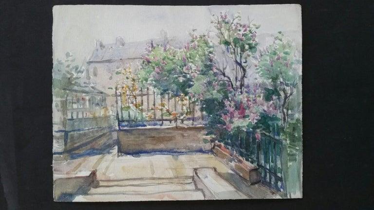 Ecole de Paris Mid 20th Century, City Garden Terrace - Painting by Henri Miloch