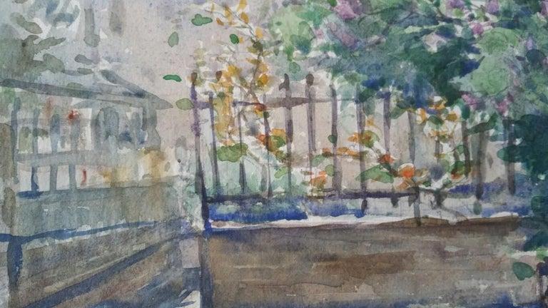 Ecole de Paris Mid 20th Century, City Garden Terrace - Impressionist Painting by Henri Miloch