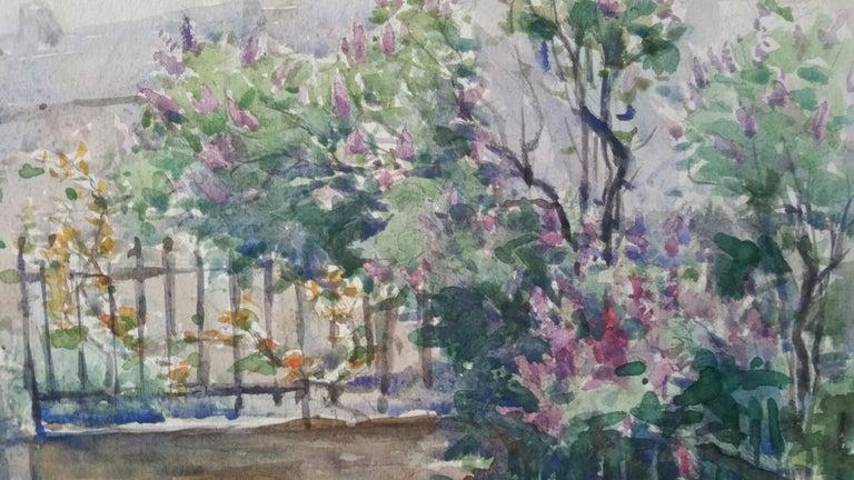 Ecole de Paris Mid 20th Century, City Garden Terrace - Gray Landscape Painting by Henri Miloch