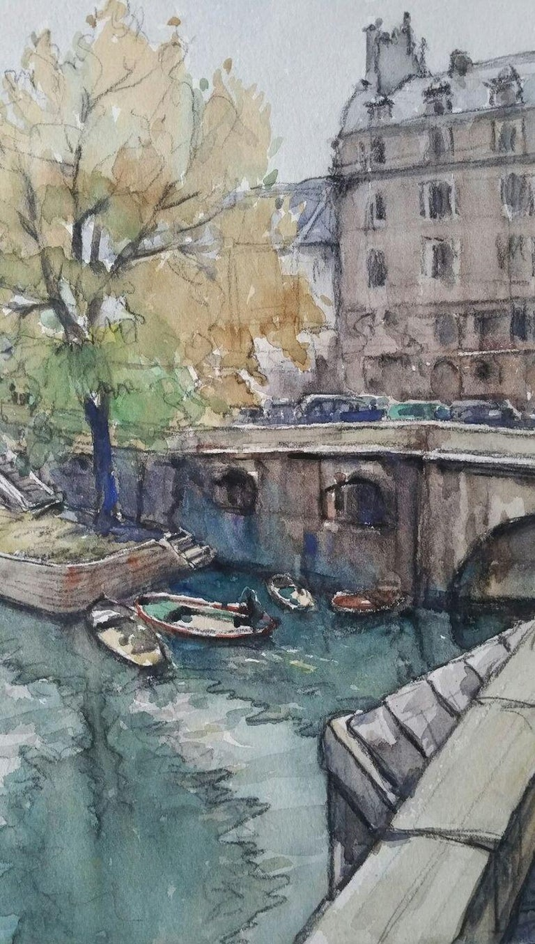 Henri Miloch Landscape Painting - Ecole de Paris Mid 20th Century, A Scene by The River Seine