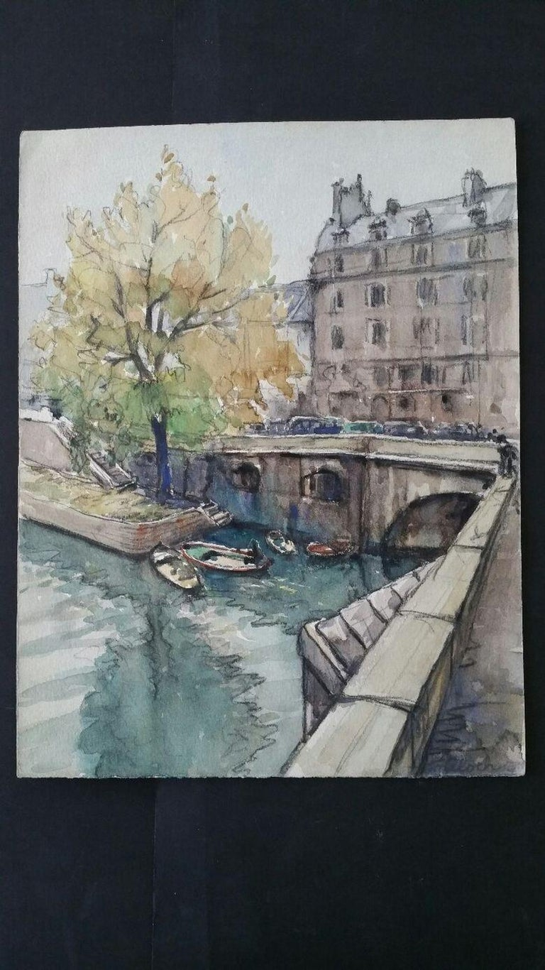 Ecole de Paris Mid 20th Century, A Scene by The River Seine  - Painting by Henri Miloch