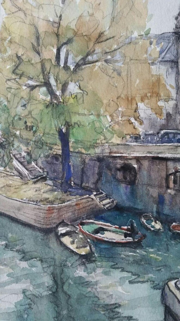 Paris, France: A Scene by the River Seine by Henri Miloch (1898-1979) signed lower right  watercolour and gouache painting on artist's paper, unframed  sheet 12.25 x 9.75 inches   Nicely executed study over the River Seine in Paris. Painted from a