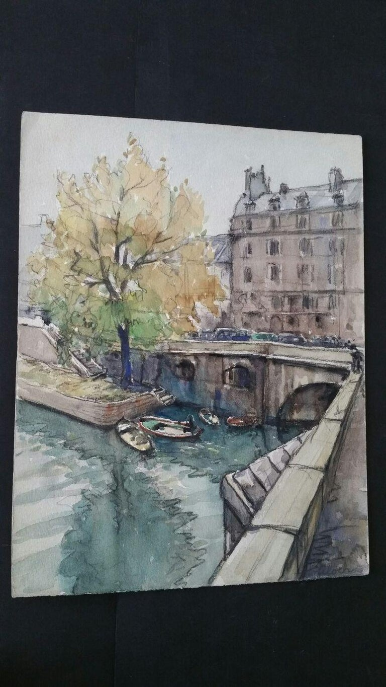 Ecole de Paris Mid 20th Century, A Scene by The River Seine  For Sale 2