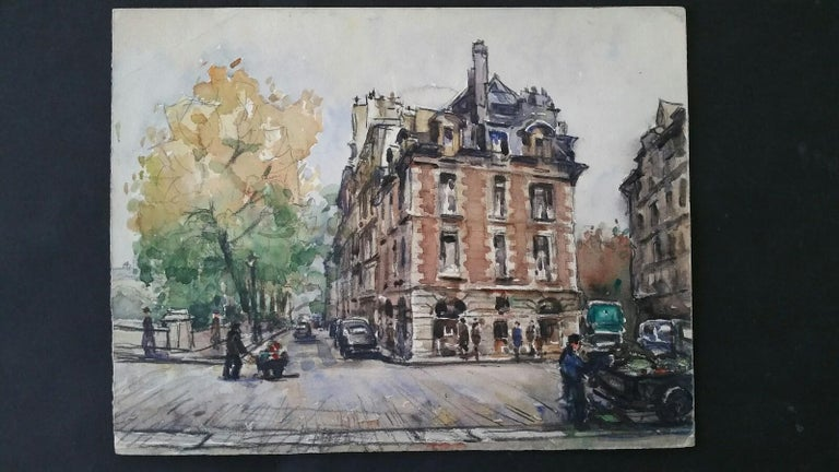 Ecole de Paris Mid 20th Century, A City Street Scene - Painting by Henri Miloch