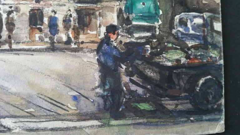 Ecole de Paris Mid 20th Century, A City Street Scene - Impressionist Painting by Henri Miloch