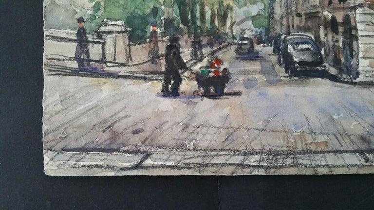Ecole de Paris Mid 20th Century, A City Street Scene For Sale 1