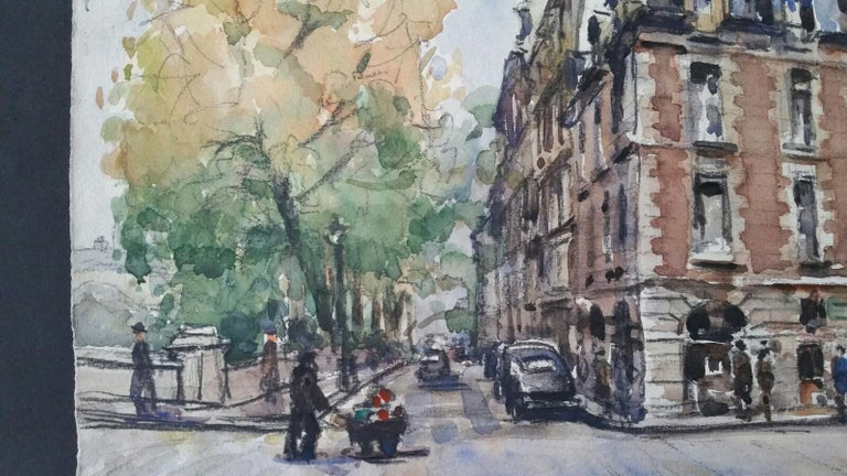 Ecole de Paris Mid 20th Century, A City Street Scene For Sale 2