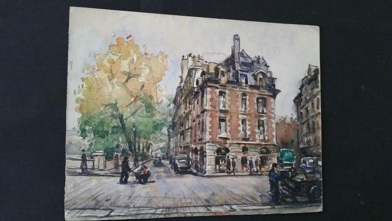 Ecole de Paris Mid 20th Century, A City Street Scene For Sale 3