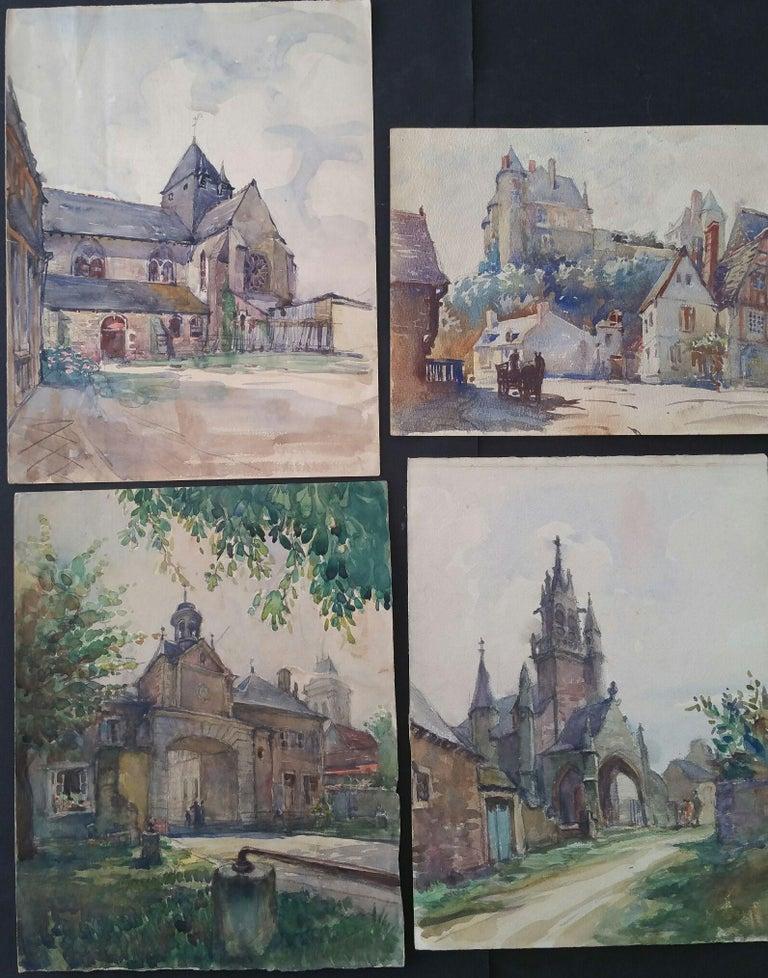 Henri Miloch Landscape Painting - Ecole de Paris Mid 20th Century, Four Architectural Landscapes