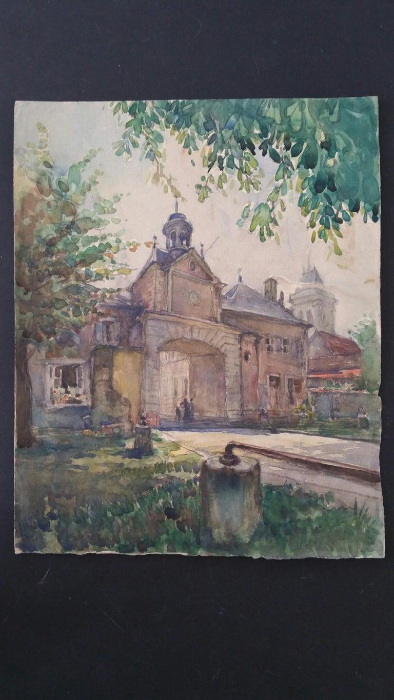 Ecole de Paris Mid 20th Century, Four Architectural Landscapes - Gray Landscape Painting by Henri Miloch