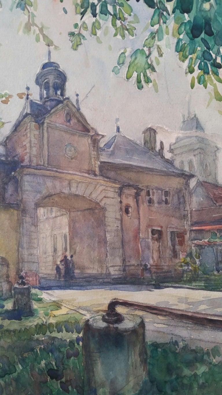 Ecole de Paris Mid 20th Century, Four Architectural Landscapes For Sale 1
