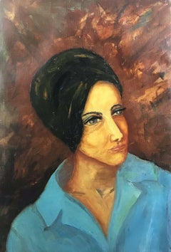 Large 1960's French Modernist Portrait Woman in Blue Jacket