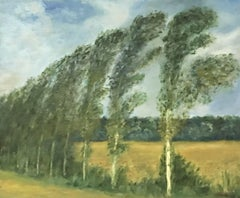 FERNAND AUDET (1923-2016) SIGNED FRENCH IMPRESSIONIST OIL - POPLAR TREES WIND
