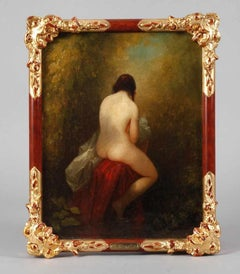 Nude Lady in Woodland 19th century German Romantic Realist Oil Painting